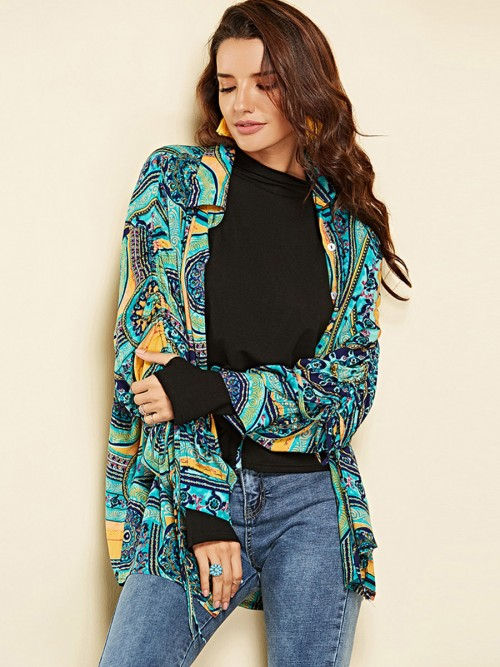 Plain Blue Ethnic Print Shirt Turndown Collar Holiday