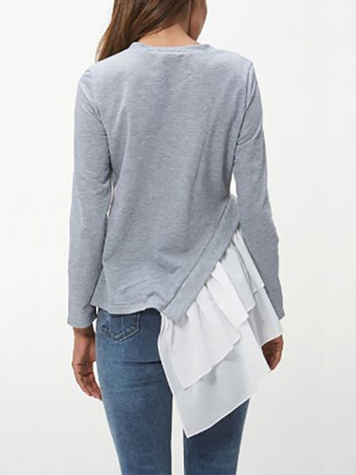 Nice Gray Crew Neck Ruffle Hem Patchwork Shirt For Camping