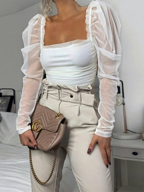 Wonderful White Puff Sleeve Shirt Open Back For Shopping