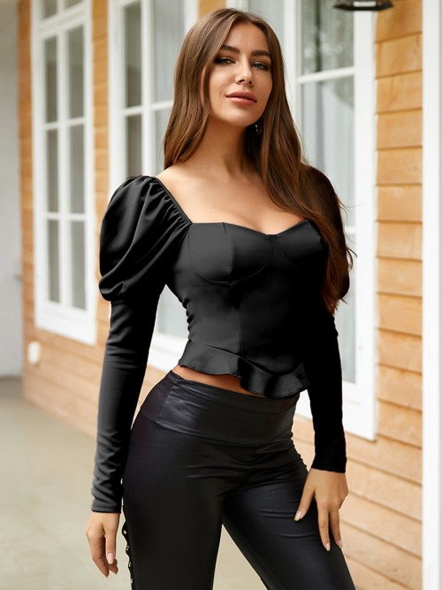 Charming Black Ruffle Shirt Solid Color Long Sleeve Essentials