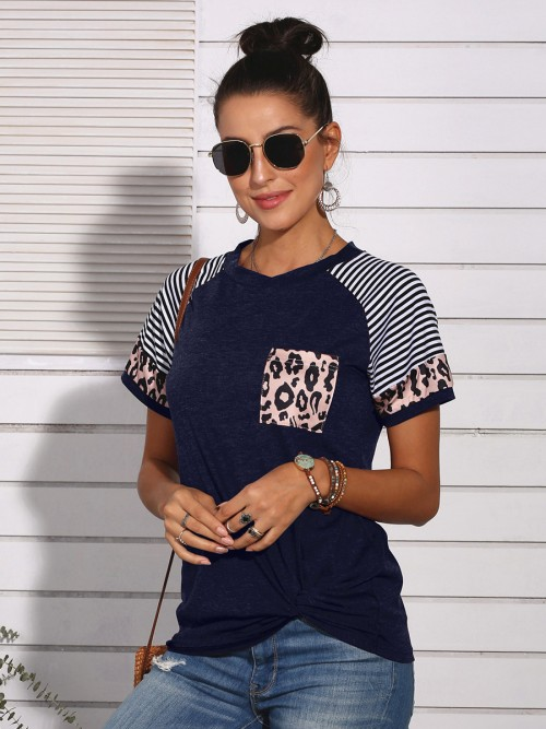 Consummate Blue T-Shirt With Pocket Leopard Printed Pullover