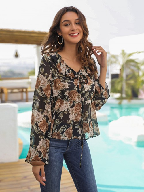 Unvarnished Full Sleeve Print Shirt Tie Neckline For Beauty