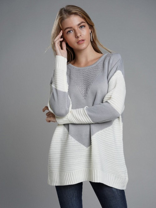 Glamourous Gray Patchwork Knitted Sweater Round Collar Comfort Fashion