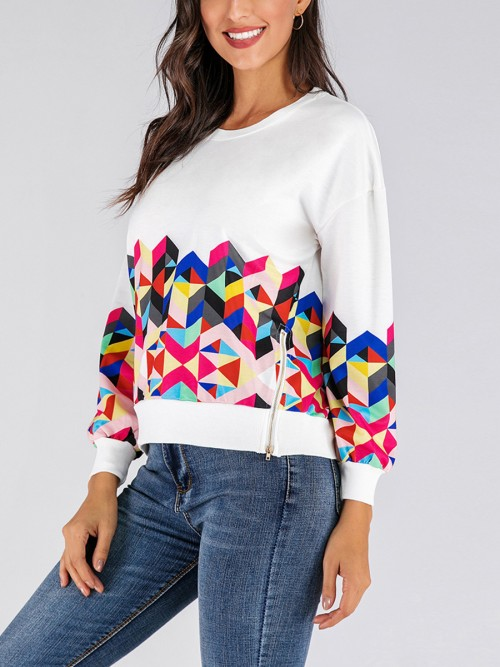 Inviting White Geometric Print Sweatshirt Zipper Slit Feminine Charm