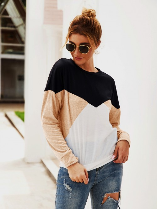 Brightly Khaki Knit Swetashirt Patchwork Crew Neck Outfit