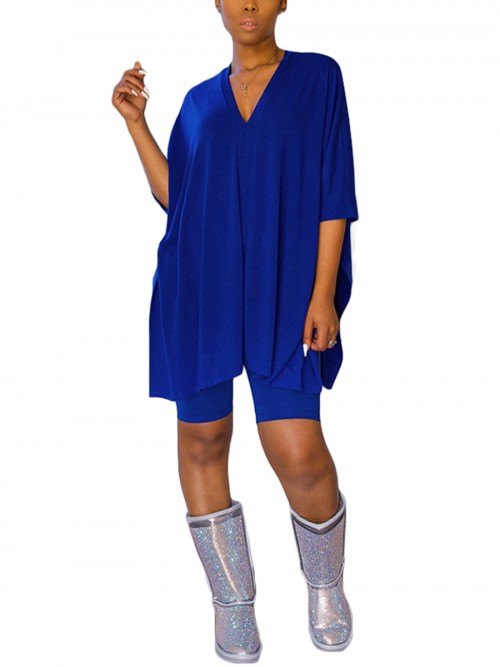 Stylish Royal Blue 2 Piece V Neck Top Sold Color Shorts Comfort