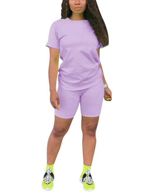 Good-Looking Purple Large Size Sweat Suit Short Sleeve Street Style
