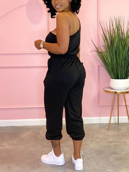 Best Price Black One Shoulder Top Drawstring Pants Feminine Curve