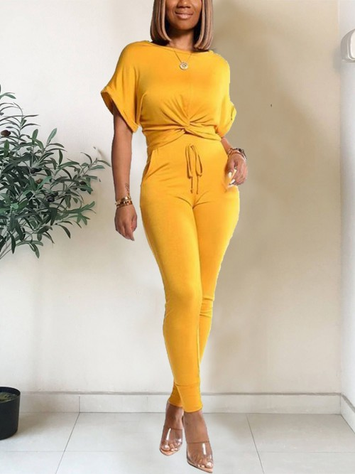 Flexible Yellow Crew Neck Shirt High Rise Pants High Quality