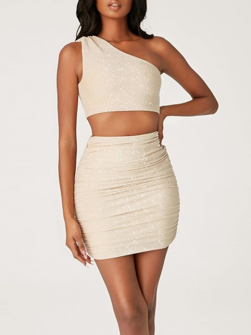 Modest Gold One Shoulder Top Mini Length Skirt Outfit