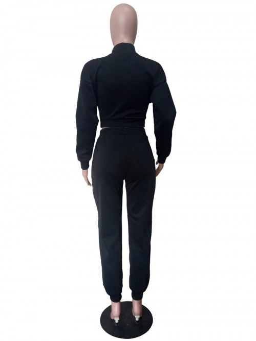 Black Tie-Waist Cropped Top And Sweatpants All-Match Style