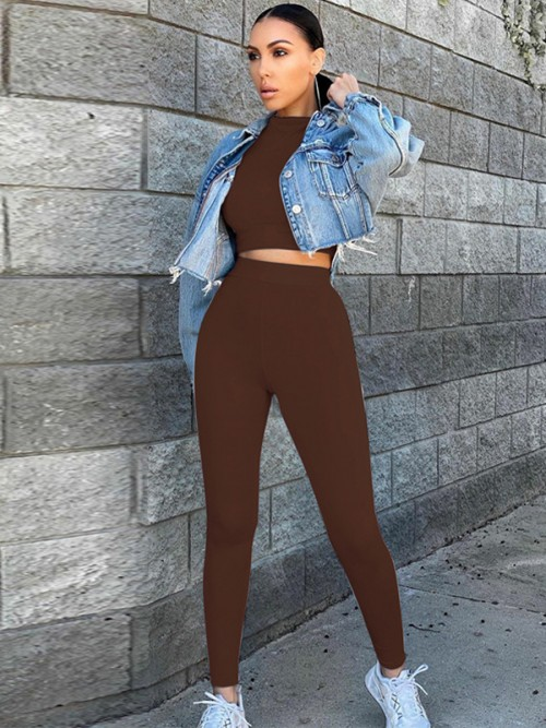 Coffee Color Long Sleeve Top High Rise Leggings Casual Women Clothes