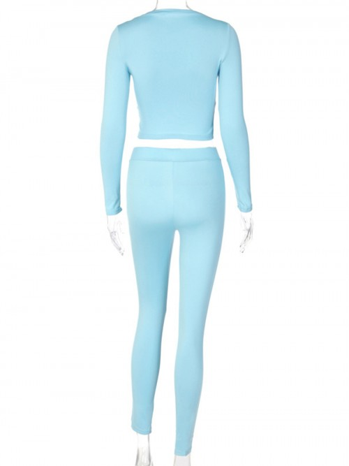Blue Sweat Suit Full Length Solid Color Casual Fashion
