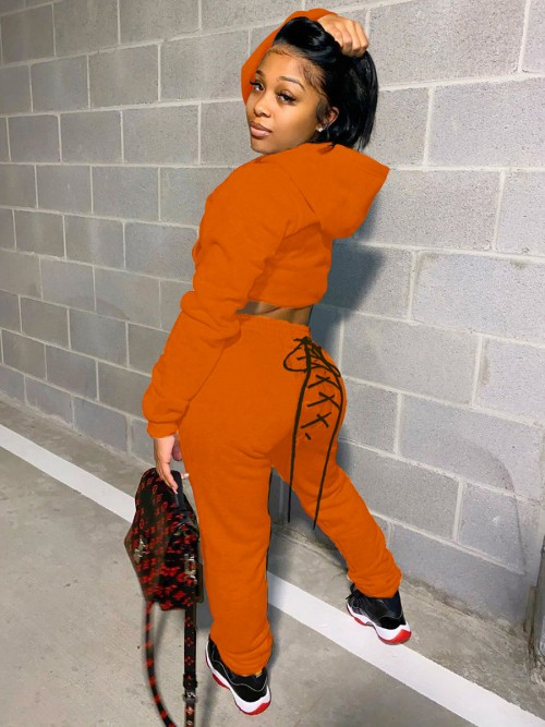 Orange Lace-Up High Waist 2-Piece Outfits Supper Fashion