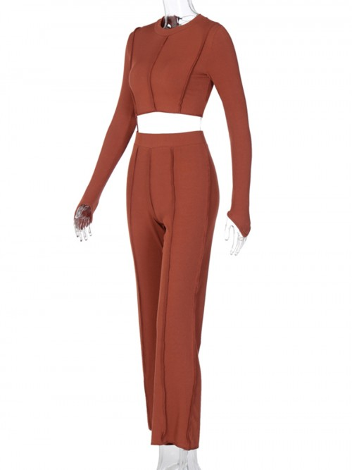 Brown Thumbhole Mock Neck Chain Women Suit Latest Trends