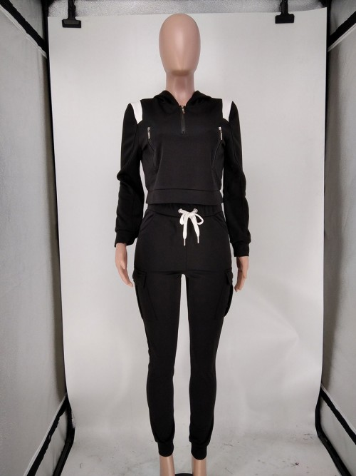 Black Zip Neckline 2 Piece Outfit Colorblock Classic Clothing