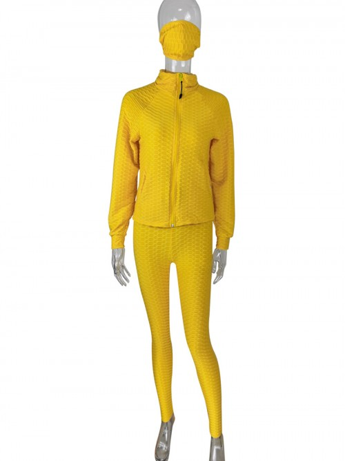 Yellow Long Sleeve Jacquard Weave Women Set For Ladies