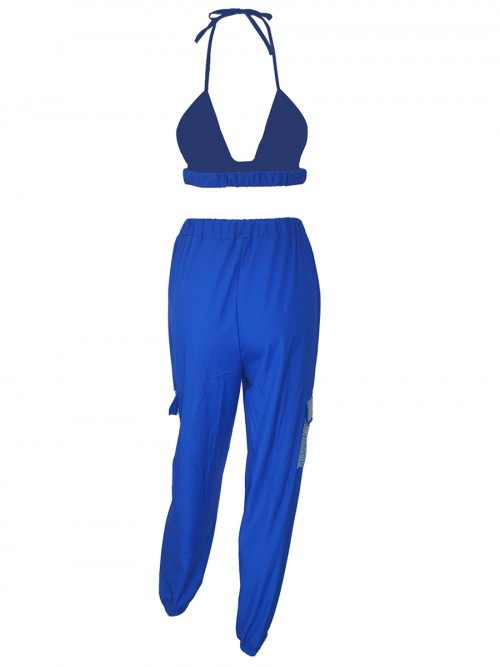 Blue Hot Drilling Plunge Collar Women Suit Soft-Touch