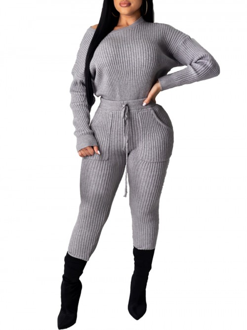 Faddish Gray Long Sleeve Pants Suit With Pockets Women's Apparel