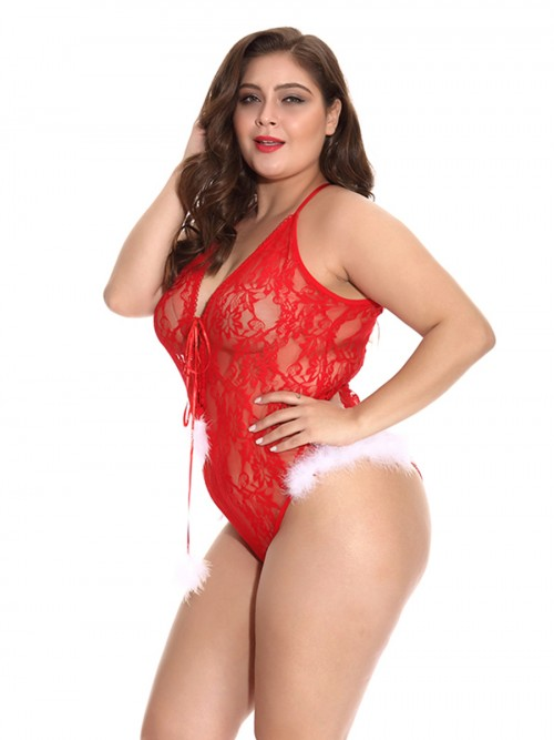 Red Christmas Lace Plus Szie Teddy Lingerie Dissolute Night