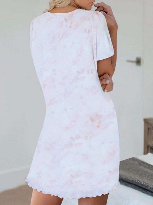 Flirtatious Pink Tie-Dye Short Sleeves Nightgown Button For Cutie