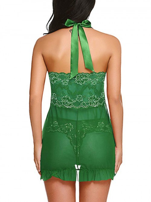 Appealing Green Pleated Backless Babydoll Flower Paint Holiday Sale