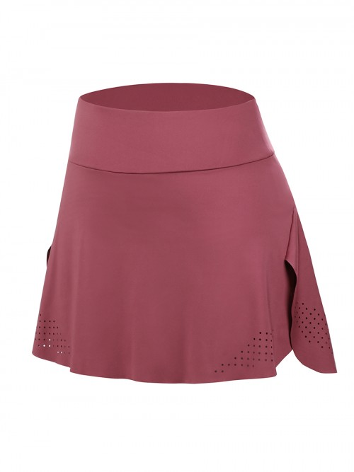 Graceful Jujube Red High Waist Tennis Skirt With Pockets Outdoor