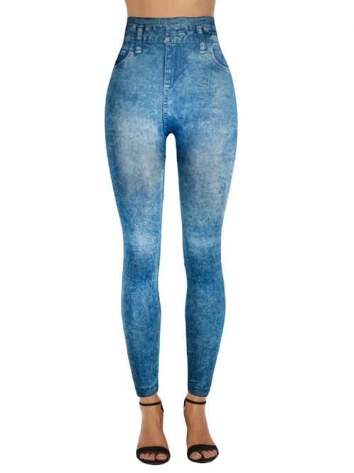 Comfy False Pockets Leggings Denim Printed CFeminine Curve