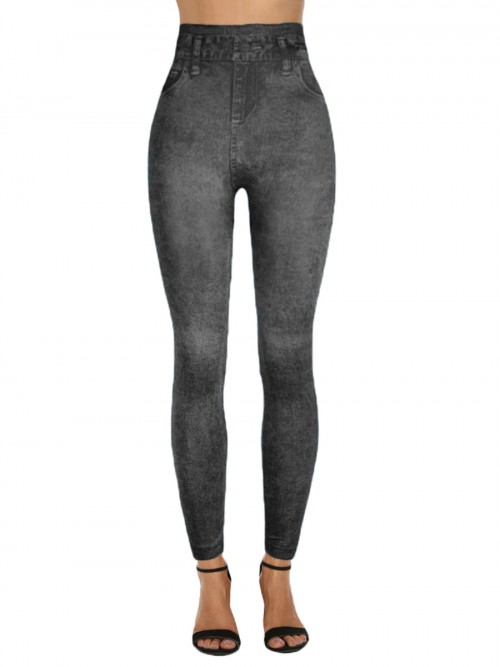 Eye-Appealing Denim Printed 7/8 High Rise Legging Designer Clothing
