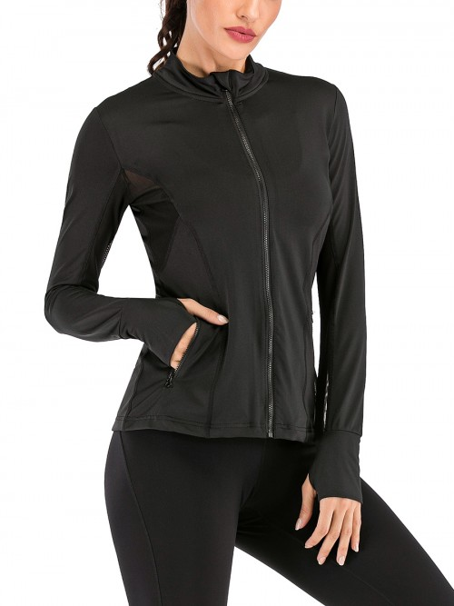 Spectacular Black Thumbhole Stand-Up Collar Sports Top Trend For Women