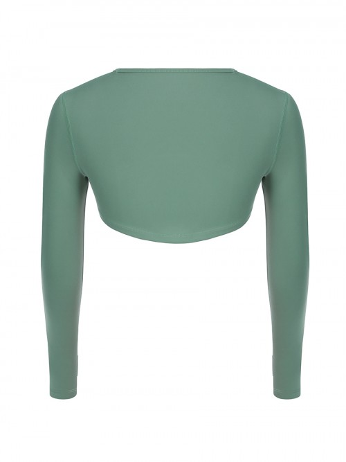 Green High-Low Hem Top Thumbhole Full Sleeve Young Style