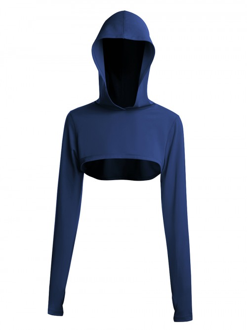 Navy Blue Thumbhole Full Sleeve Solid Color Gym Top For Women