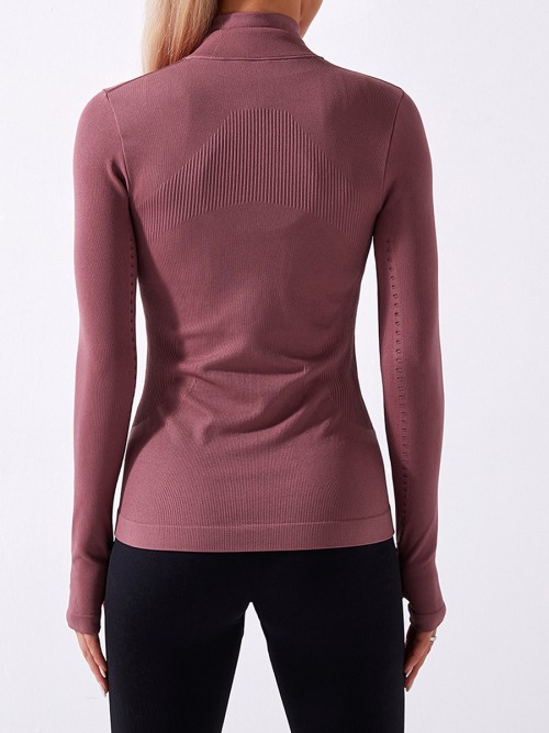 Red Stand Collar Full Zip Thumbhole Sports Top Seamless Leisure