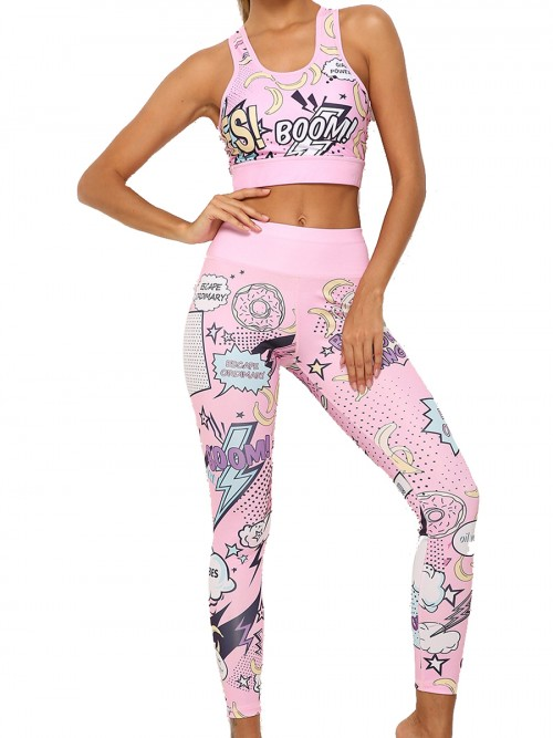 Classic Pink Cartoon Print Yoga Suit Hollow Out Athletic