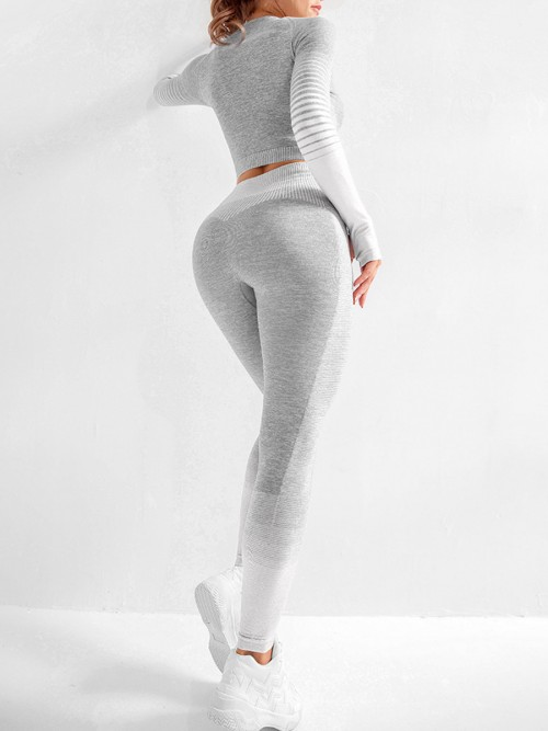 Snappy Gray Seamless High Rise Patchwork Yoga Suit Best Workout