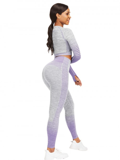 Stretched Purple Athletic Suit Long Sleeves Patchwork Elasticated
