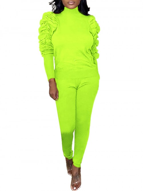 Cheeky Green Ankle Length 2 Pieces Athletic Suits Form Fitting