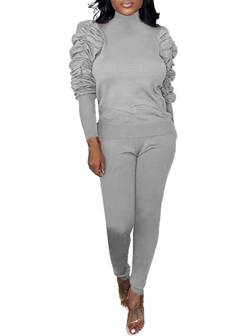 Astonishing Gray Full-Length Sports Top Pants Two-Piece Fashion Style