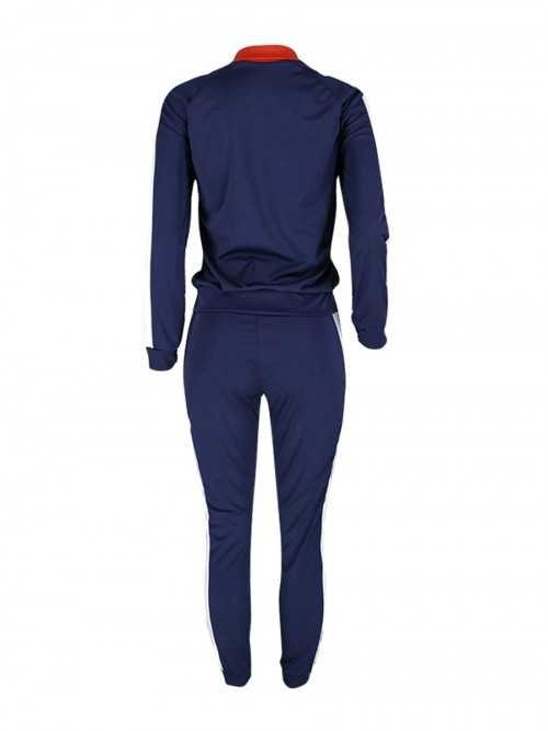 Dynamic Deep Blue Splice Large Size Sport Jacket And Pants For Exercising
