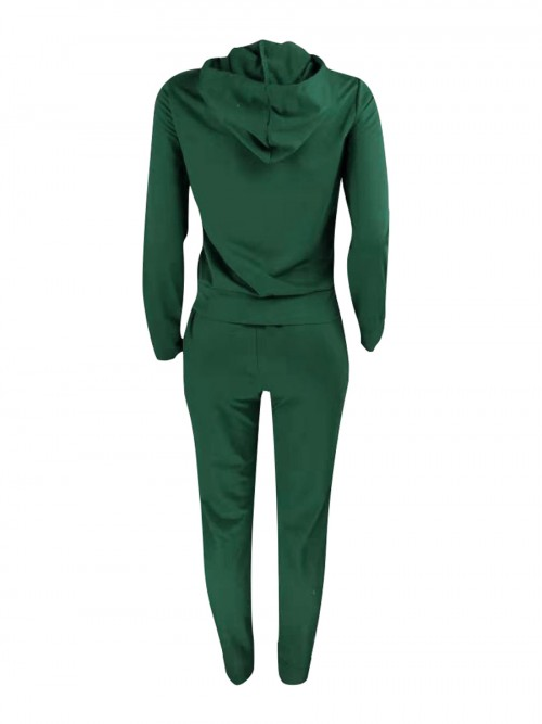 Flirty Blackish Green Athletic Suits With Pockets Hooded Neck For Girls