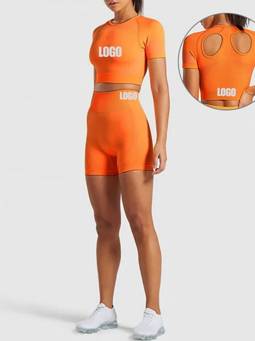 Best Design Orange Colorblock Sport Two-Piece Seamless Stretchy
