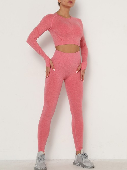 Perfectly Watermelon Red Seamless Thumbhole Yoga Suit Full Length