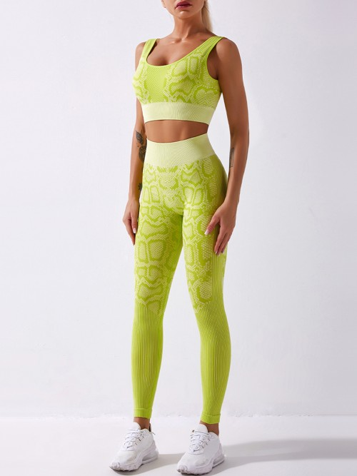 Light Yellow Full Length Seamless Snakeskin Print Yoga Suit For Female