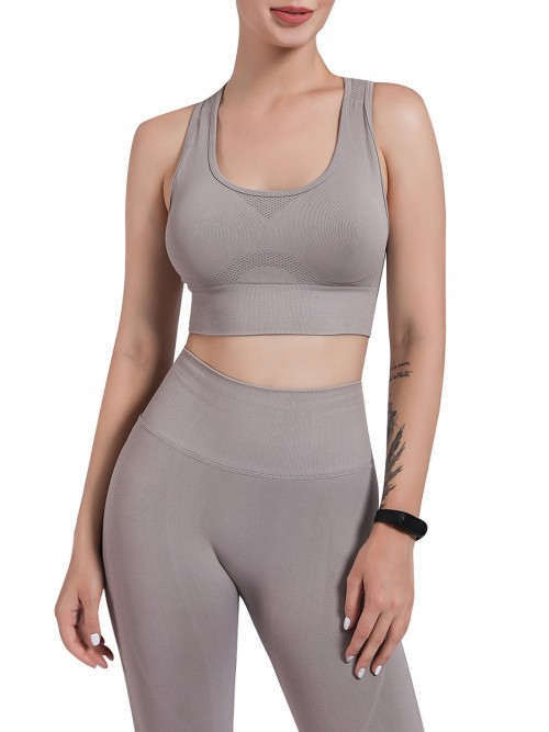 Gray Removable Cup Sports Bra High Rise Legging Soft-Touch