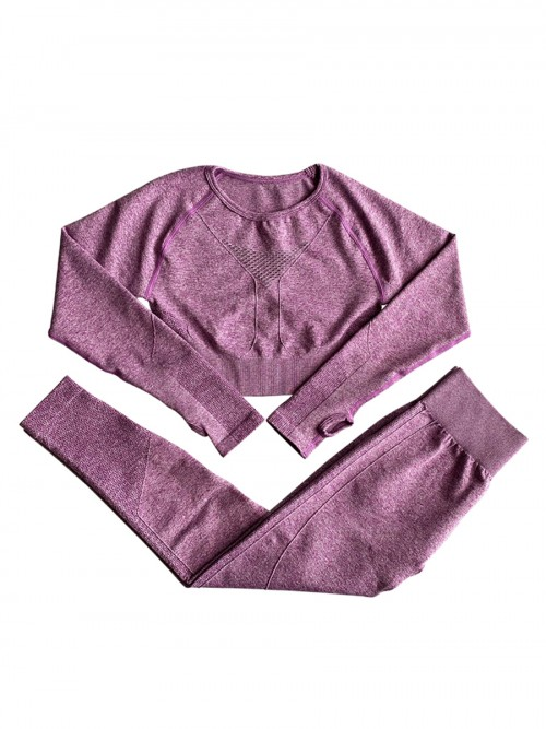 Purple Seamless Yoga Top High Rise Legging Set Forward Women