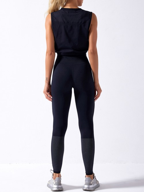 Black Sweat Suit Seamless Drawstring High Rise Fitness