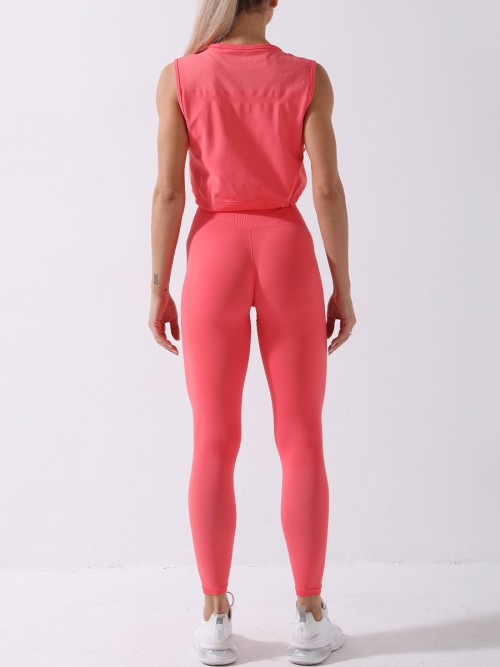 Dark Pink Wide Waistband Drawstring Seamless Sports Suit Nice Quality