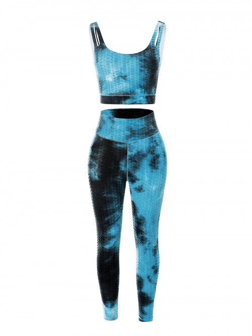 Blue High Waist Tie-Dyed Print Yogawear Suit Stretchy Fabric