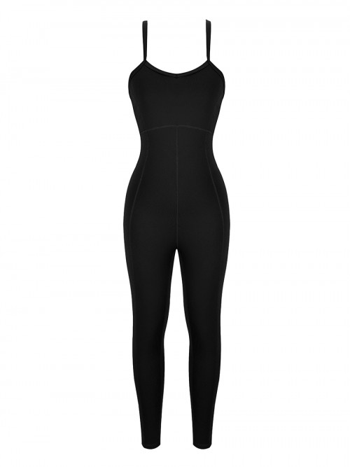 Black Strappy Back Removable Pads Yoga Bodysuit Kinetic Weekend