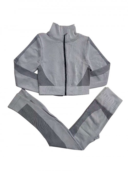 Gray High Neck Wide Waistband Athletic Suit Fast Shipping